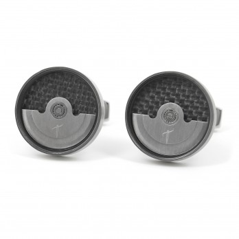 Brushed silver watch movement cufflinks - Lugano