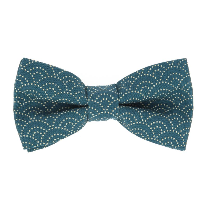 Petrol Blue Bow tie with Waves Pattern in Japanese Cotton The Nines