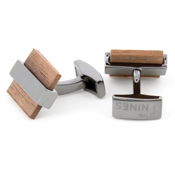 Rectangular bubinga wood cufflinks - Hirosaki