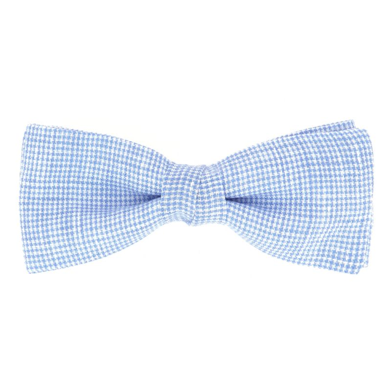 Light Blue Bow tie with Houndstooth in Linen The Nines