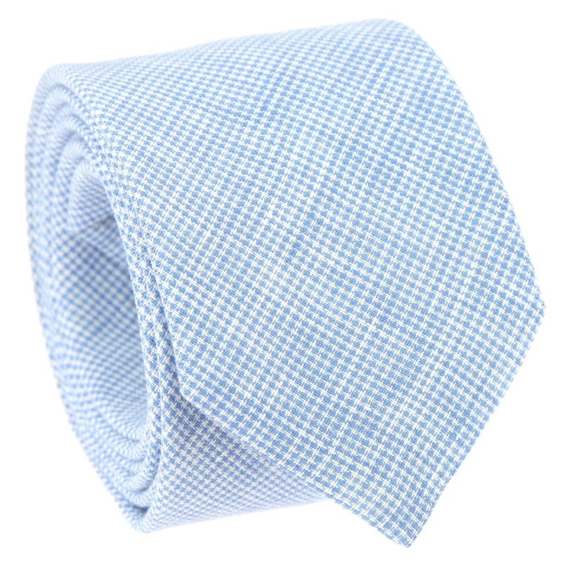 Light Blue Tie with Houndstooth in Linen The Nines