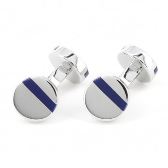 Round Navy Blue Cufflinks - Madrid