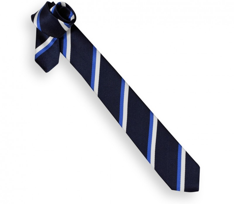 Navy Blue Narrow Tie with White and Blue Stripes - Reading II