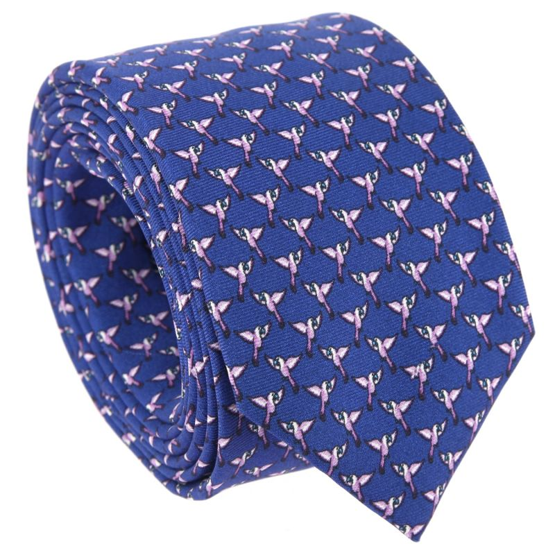 Dark Blue Tie with Violet Parrot Pattern in Silk The Nines