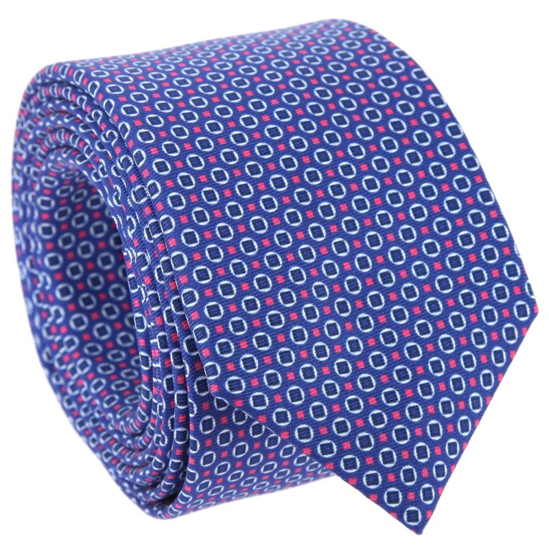 Dark Blue Tie with Navy Blue and Pink Round and Square Patterns The Nines