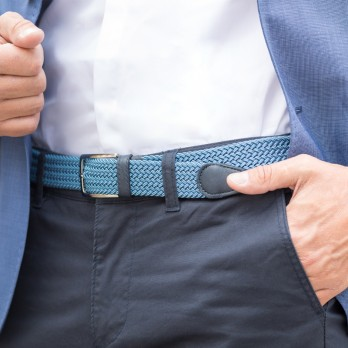 Elastic braided belt in blue and navy blue - Rob III