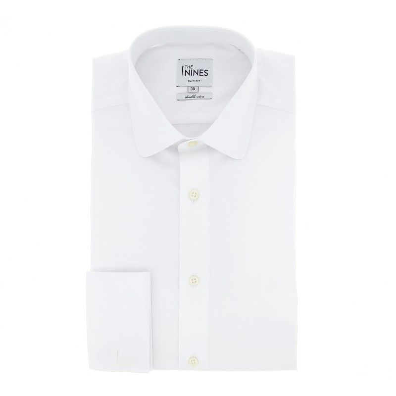 Slim fit white rounded tab collar french cuff shirt