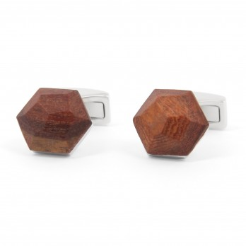 Faceted Bubinga Wood Cufflinks - Gamla Stan