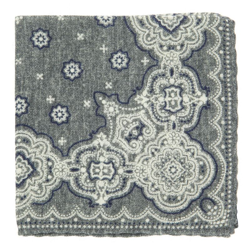 Grey Pocket square with Cachmere Pattern in Wool The Nines