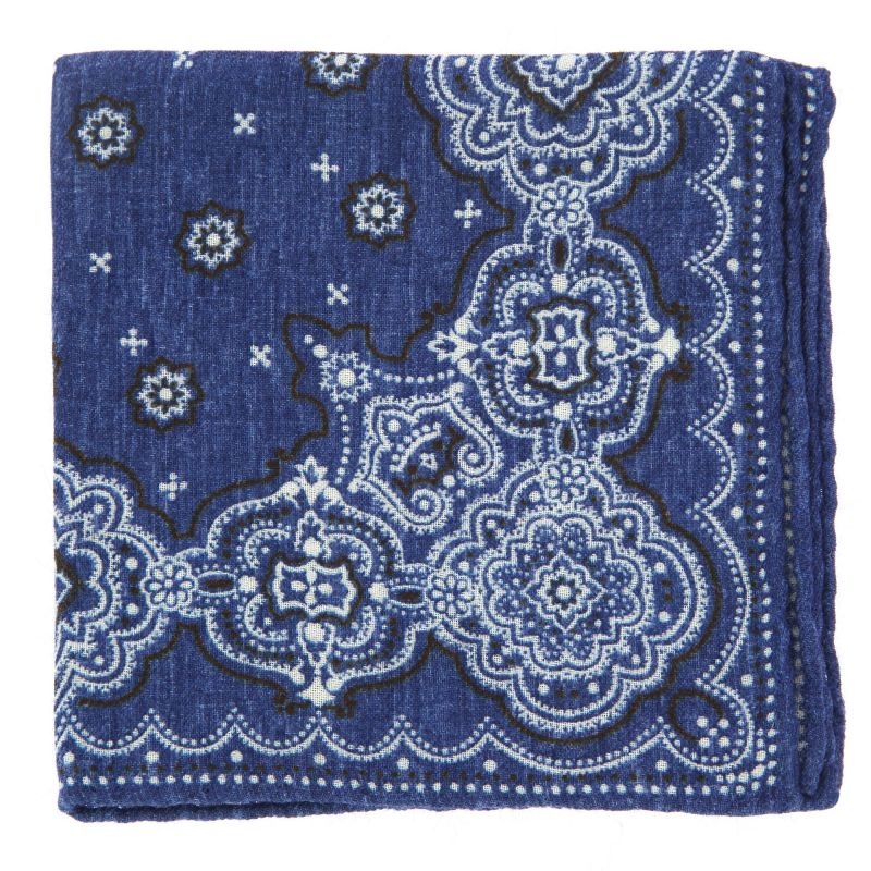 Denim Blue Pocket square with Cachmere Pattern in Wool The Nines