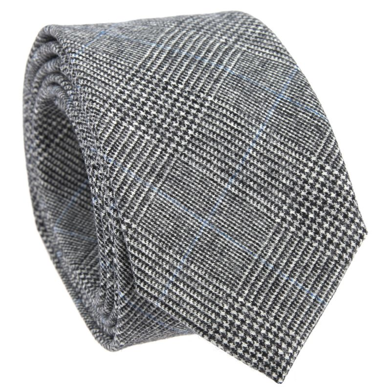 Grey Tie with Blue Prince of Wales Pattern in Wool The Nines