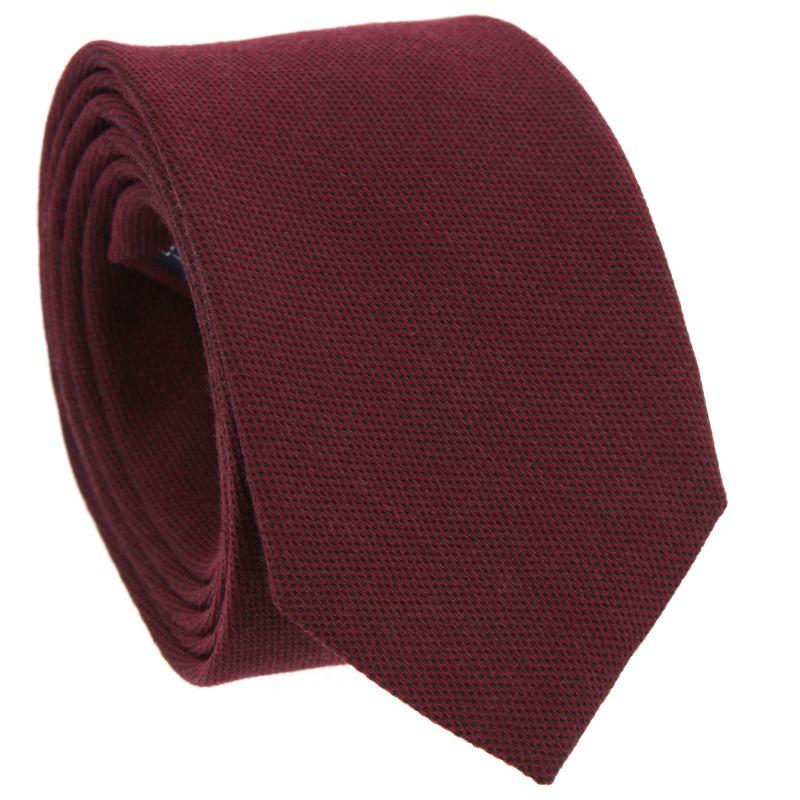 Burgundy Tie in Silk and Wool Basket Weave The Nines