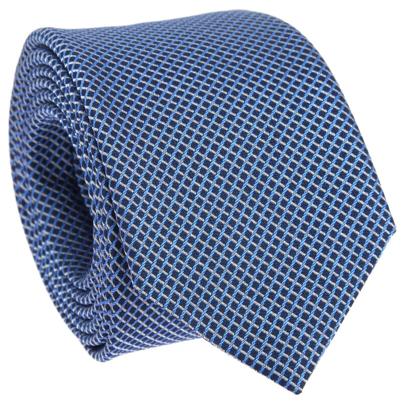 Navy Blue Tie with Light Blue and White Squares in Basket Weave The Nines
