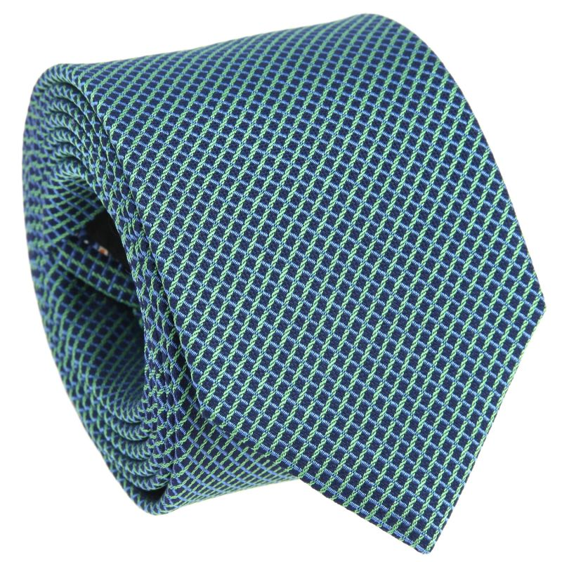 Navy Blue Tie with Light Blue and Green Squares in Basket Weave The Nines