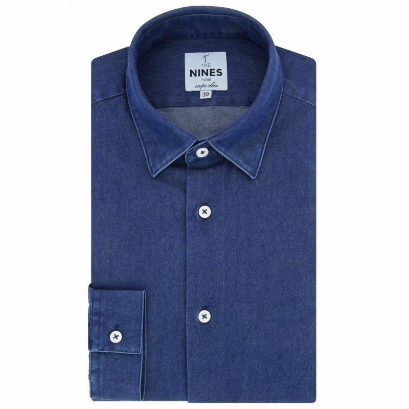 Blue Japanese collar shirt in denim slim fit