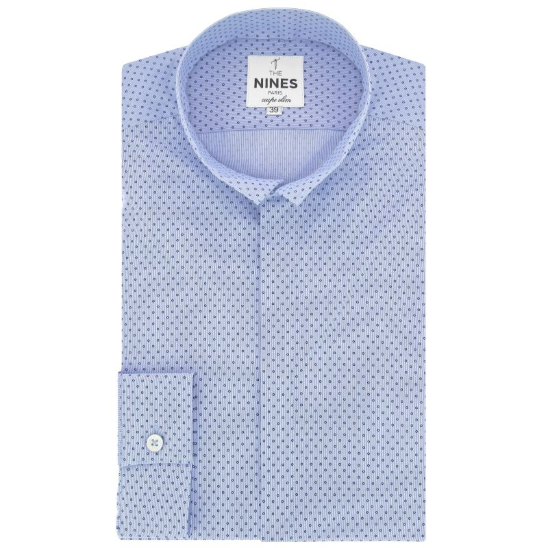 Light blue reverse collar shirt in dots slim fit