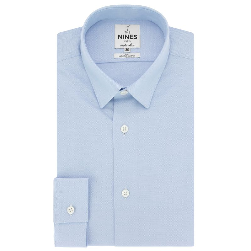 Light blue small collar shirt in oxford slim fit