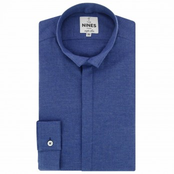 Dark blue reverse collar shirt in flannel slim fit