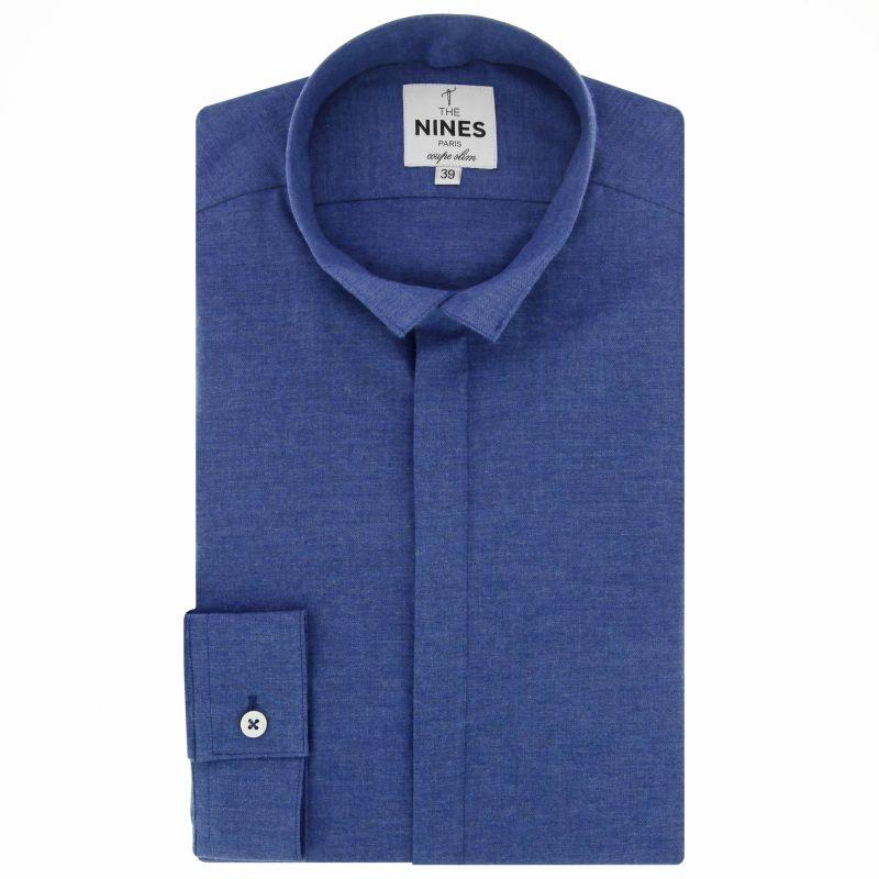 Dark blue reverse collar shirt in flannel slim fit