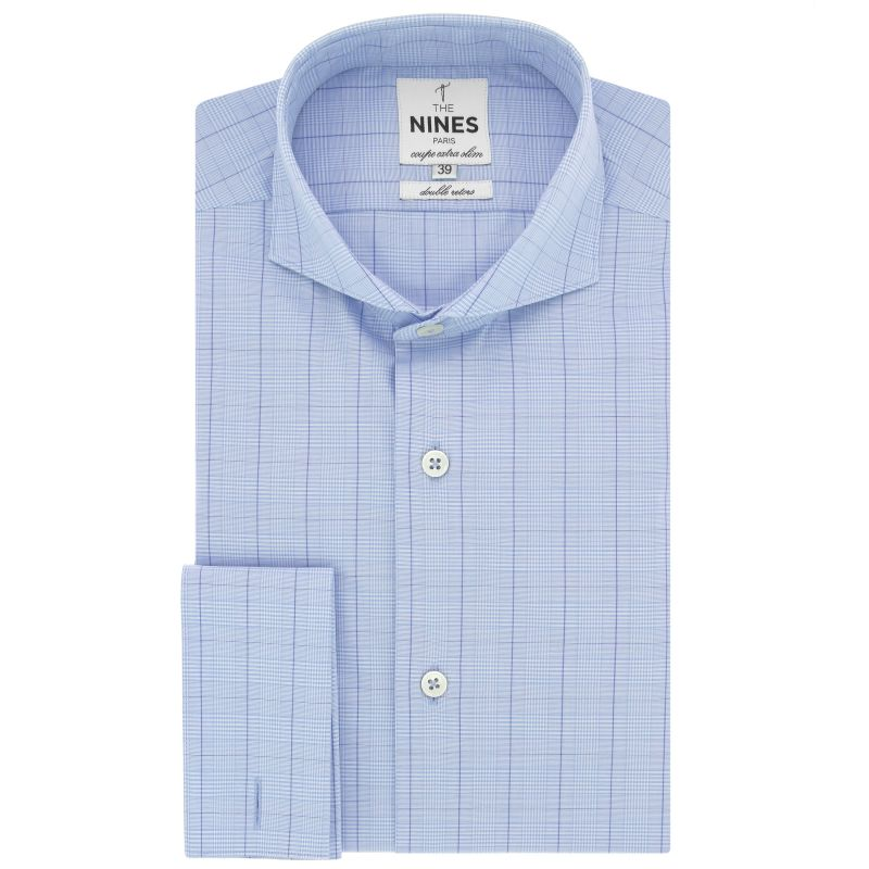 Light blue cutaway collar shirt in with prince of wales pattern extra slim fit