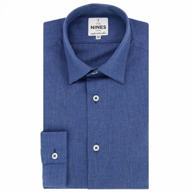 Blue Japanese collar shirt in flannel extra slim fit