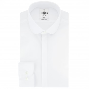Tailored fit white club collar shirt