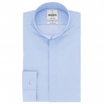 Blue reverse collar shirt Slim-fit