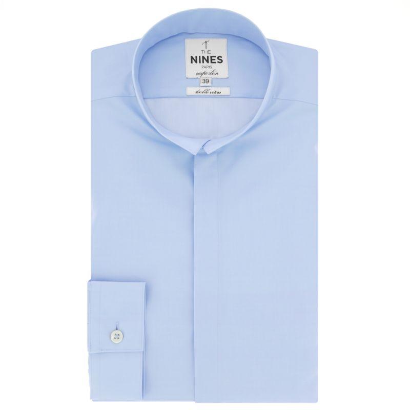Blue reverse collar shirt