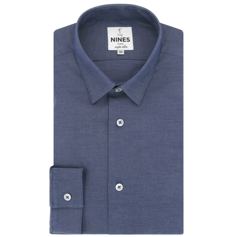 Navy blue small collar shirt in chambray slim fit