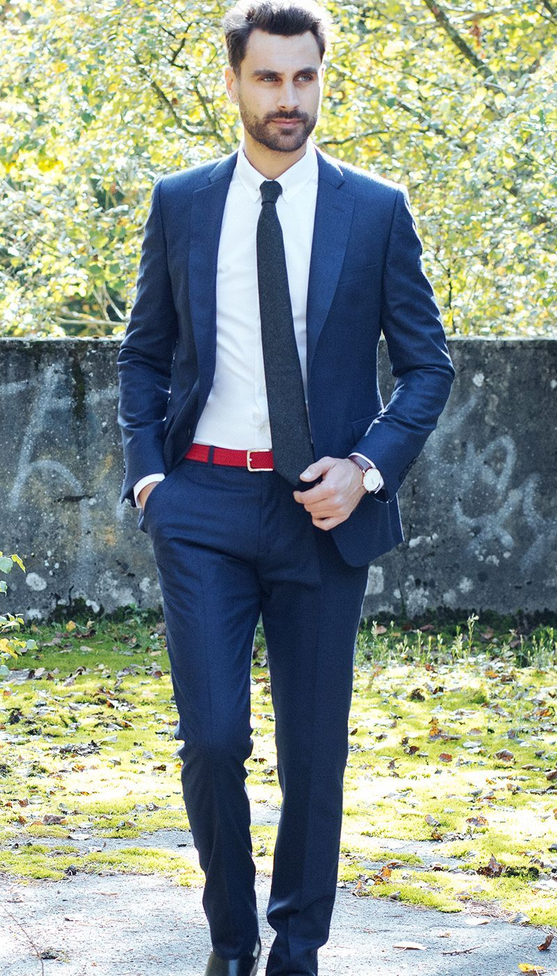 Navy blue flannel suit The Nines