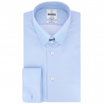 Light blue rounded tab collar French cuff shirt in poplin