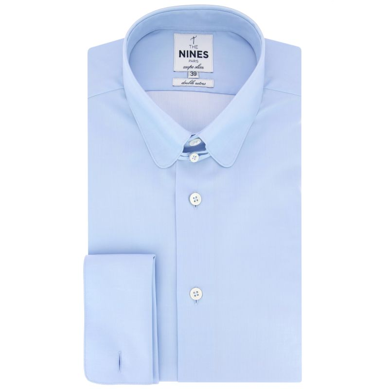 4c3ecd827d3f23 Light blue rounded tab collar French cuff shirt in poplin