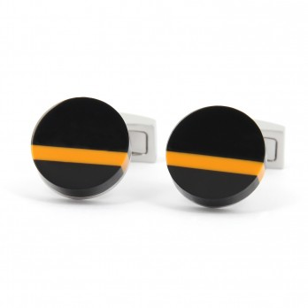 Black and orange round cufflinks - Alhambra