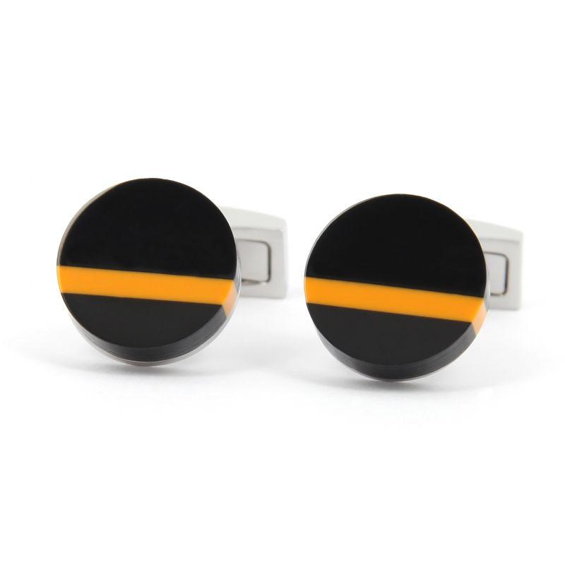 Round black and orange Cufflinks - Alhambra