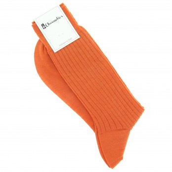 Mandarin orange virgin wool socks