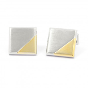 Brushed silver square cufflinks with gold insert - Ulm