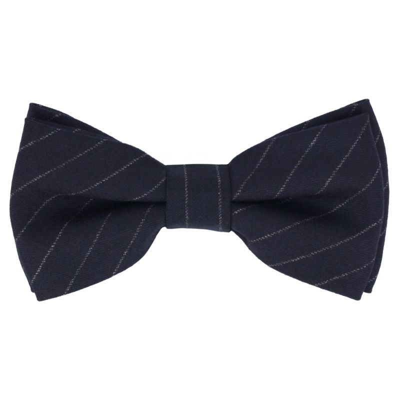 Navy Blue Bow Tie with White Stripes in Flannel The Nines