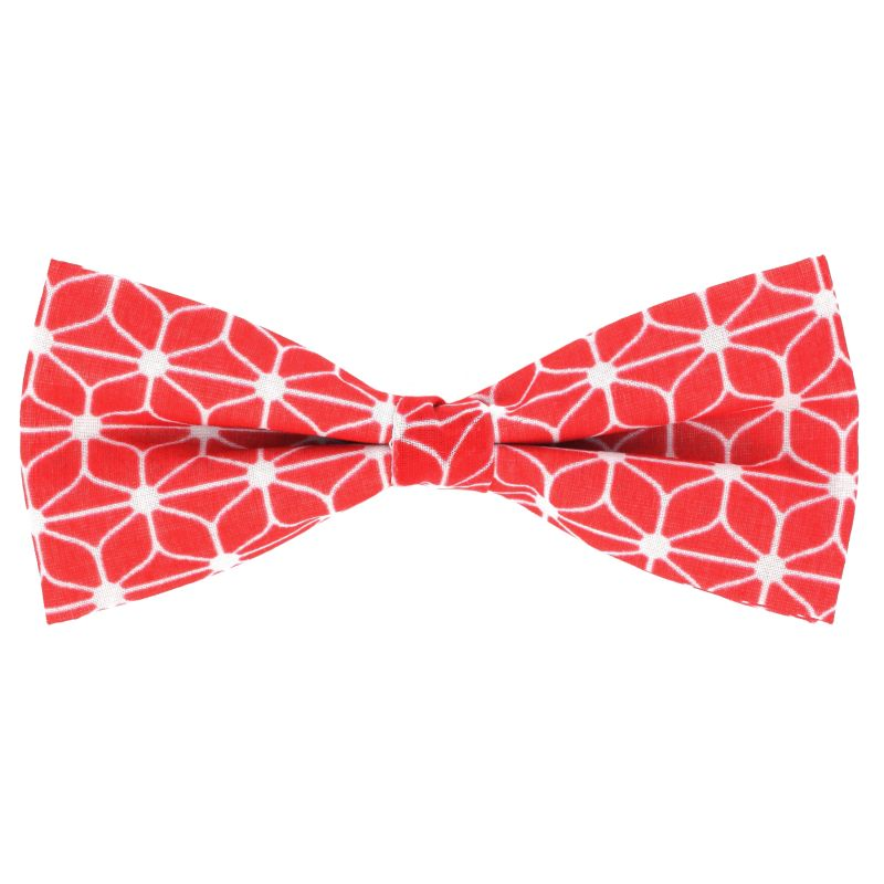 85f97b03724a Red Bow tie with Geometric Pattern in Cotton The Nines