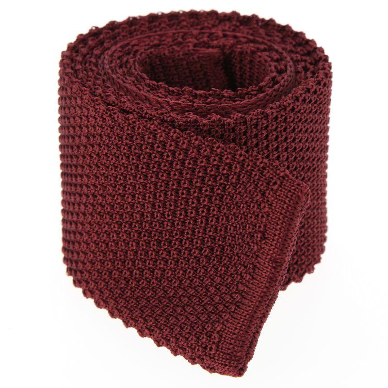 Burgundy Knit Tie - Monza