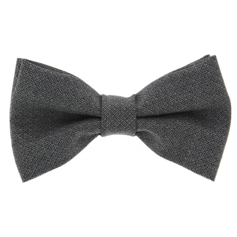 Grey Bow Tie with Criss-Cross Pattern The Nines