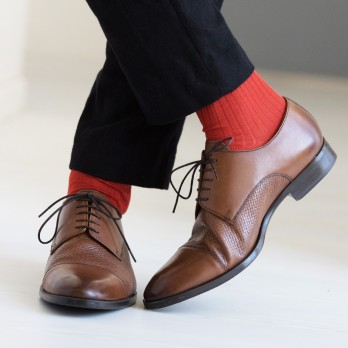 Burnt orange cotton lisle socks