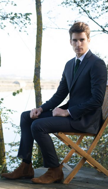 Navy blue Prince of Wales suit from The Nines