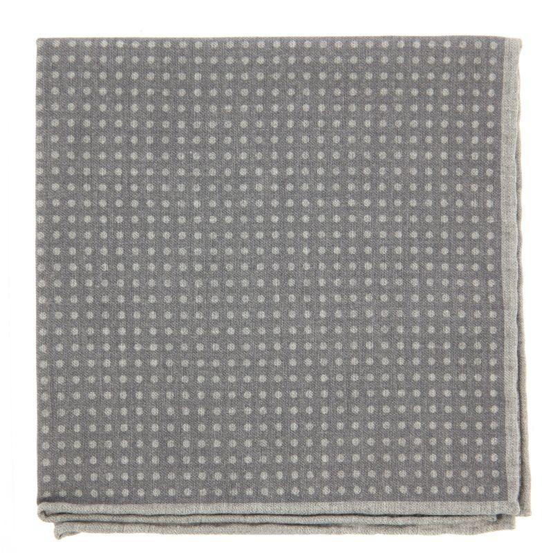 Grey Pocket square with Light Grey Dots The Nines