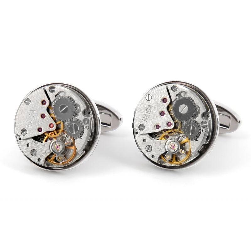 Silver watch movement cufflinks - Bienne II