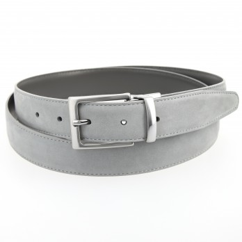 Reversible belt in cement grey leather and grey nubuck - Clint