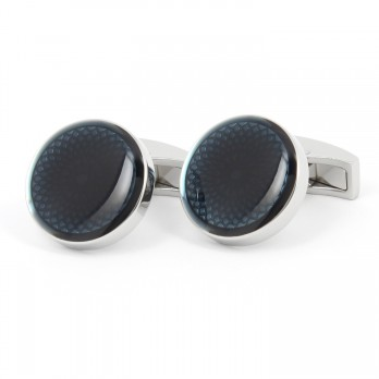 Round navy blue Cufflinks - Rosas