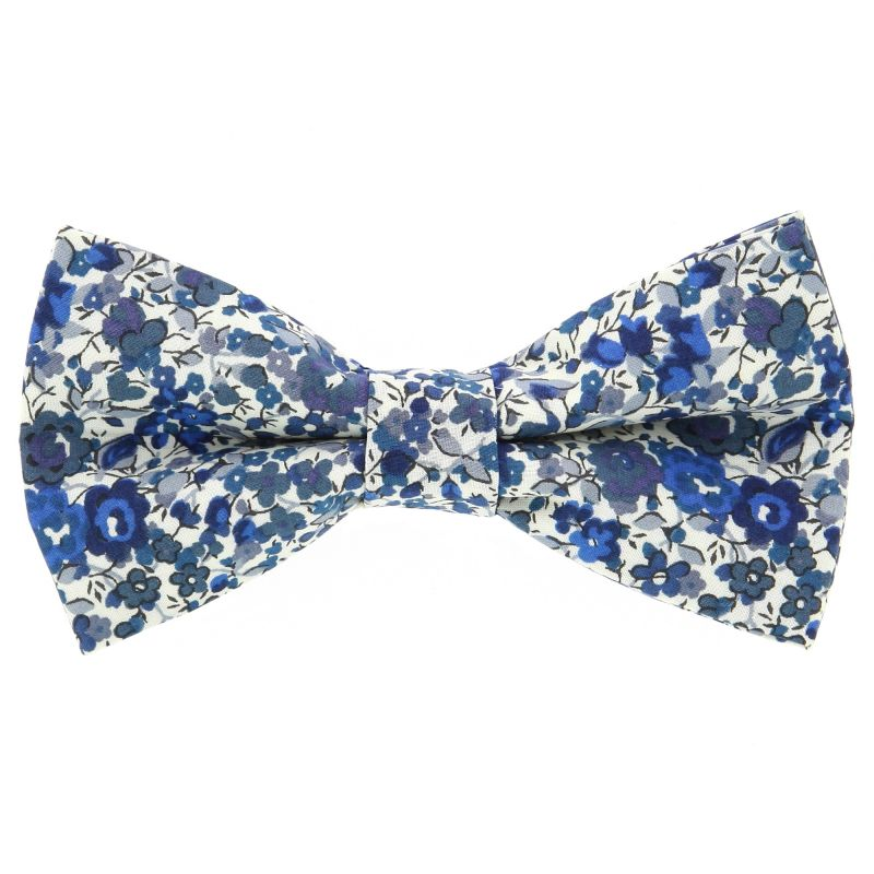 Navy Blue Bow Tie with Liberty Flowers The Nines