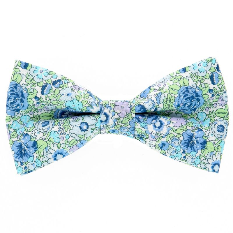 Turquoise And Green Bow Tie with Liberty Flowers The Nines