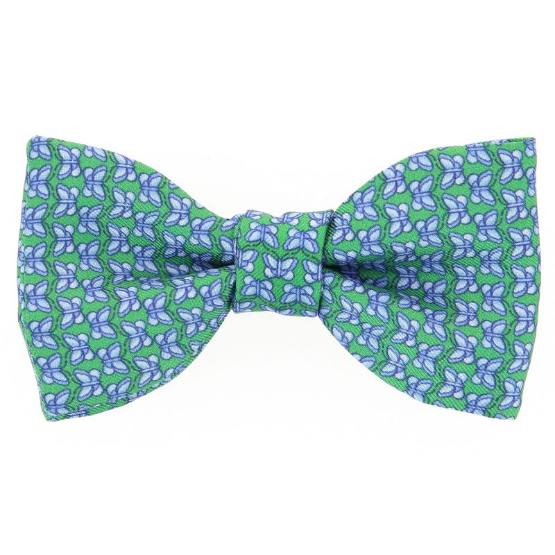 Green Bow Tie with Light Blue Butterfly Pattern The Nines