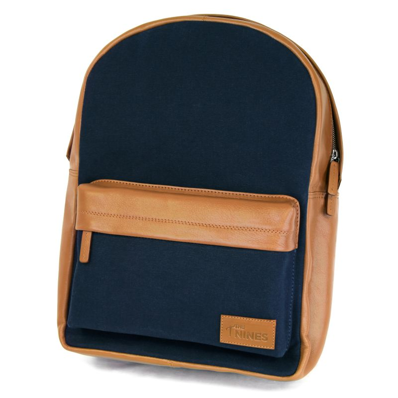 Backpack Camel Leather and Blue Canvas - LAX